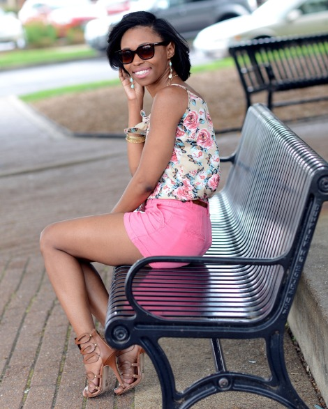 bstyle, lst, lovestyletransform, summer shorts, floral top, summer style, stl style blogger, Target shorts, Charlotte Russe Heels